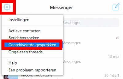 Facebook II: een messengerbericht archiveren