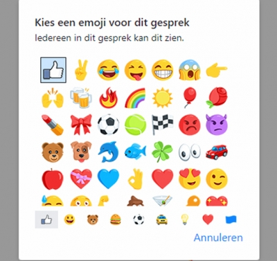 Facebook II: emoji wijzigen in Messenger