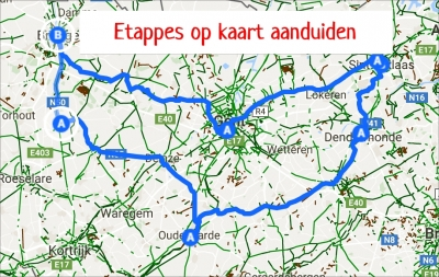 Kaart met etappes in maps