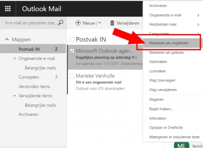Mail markeren als ongelezen (Outlook)