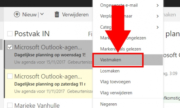 Mail vastzetten/losmaken (Outlook)