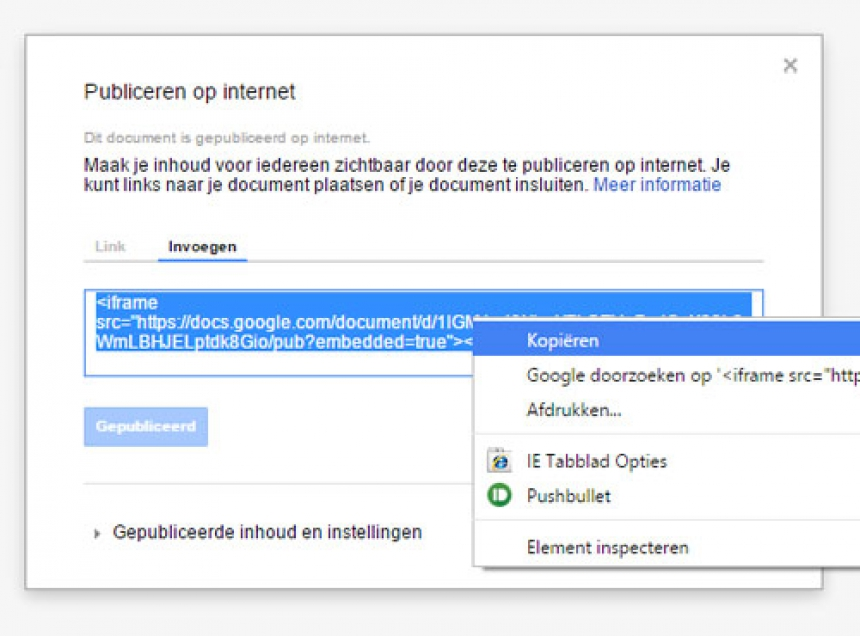 Een Google document of spreadsheet laten zien in je webpagina