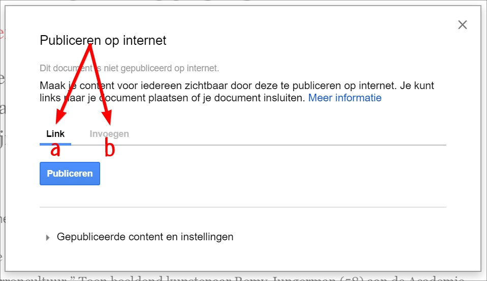 google drive document publiceren op internet