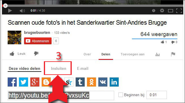 video op youtube delen